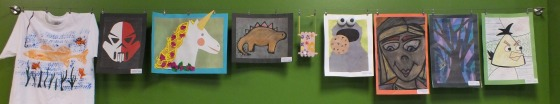 Art wall at Kidcreate Studio in Eden Prairie